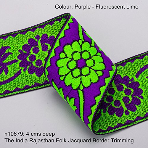 Neotrims Vibrant Floral Jacquard ribbon Trim Decoration for Sari Border, Salwar Kameez, for Crafts and Home Décor. Beautiful Continuous flowing design with Unusual Bright and Fluorescent colours. Its Stunning: The India Rajasthan Folk design trim. Buy by the meter or 1 reel or 9 meters Sari length. ()