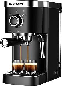 Bonsenkitchen Espresso Machine 15 Bar Coffee Machine With Foaming Milk Wand, 1450W High Performance No-Leaking 1.25 Liters Removable Water Tank Coffee Maker For Espresso, Cappuccino, Latte, Machiato, 1 Order 2 Cups
