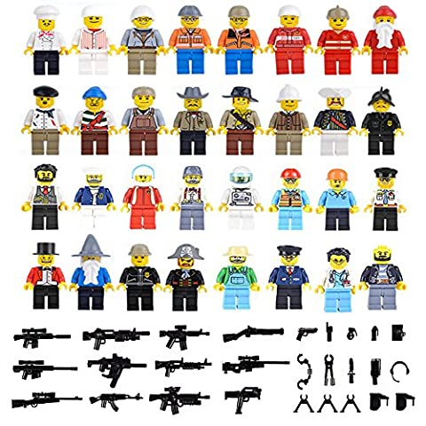 Set of 32 Compatible Lego Minifigures Set with 40+ Accessories, Lego Sets Compatible, Total 70+ (The Beatles Lego)