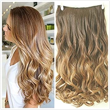 22 Full Head Clip In Hair Extensions Ombre Wavy Curly Dip Dye 6 Pcs