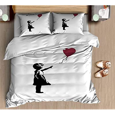 DGAIER Retro Pattern Duvet Cover Set - Girl with Red Balloon, Banksy, Streetart Street Art, Grafitti, Bedding Set with Pillowcase Gift for Kids Girls Duvet Cover Queen/Full Size: Home & Kitchen