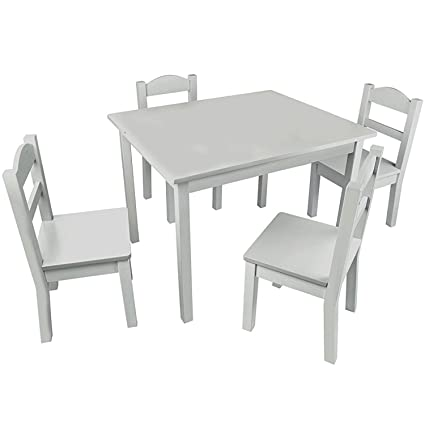 Pidoko Kids Wooden Table and Chairs Set Grey | Includes 4 Chairs and 1 Art Craft  sc 1 st  Amazon.com & Amazon.com: Pidoko Kids Wooden Table and Chairs Set Grey | Includes ...