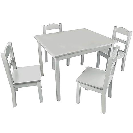 Amazon.com: pidoko niños juego de mesa y sillas de madera ...