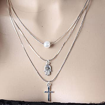 ee7d3bfff3c78 Amazon.com : A&C Fashion Bohemia 3 Tier Cross Pendant Choker ...