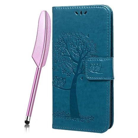 Funda Carcasas Xiaomi Redmi Note 6 Pro,Piel Libro Suave Flip Cover PU Leather Protector Cuero Carcasa Caso Funda Flor floral Gofrado Flip Wallet 360 ...