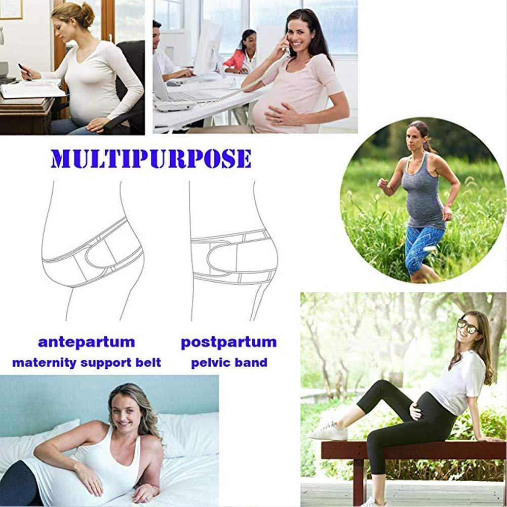Upgraded Maternity Belt - Pregnancy Belt, 2 in 1 Belly Band for Pregnancy and Postpartum Body Shape, Abdominal Binder Maternity Belly Band for Lower Back and Pelvic Support, One Size, Beige