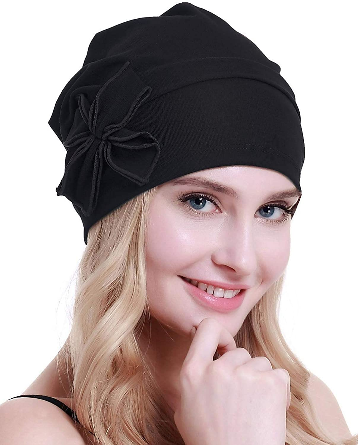 osvyo Cotton Chemo Turbans Headwear Beanie Hat Cap for Women Cancer Patient Hairloss