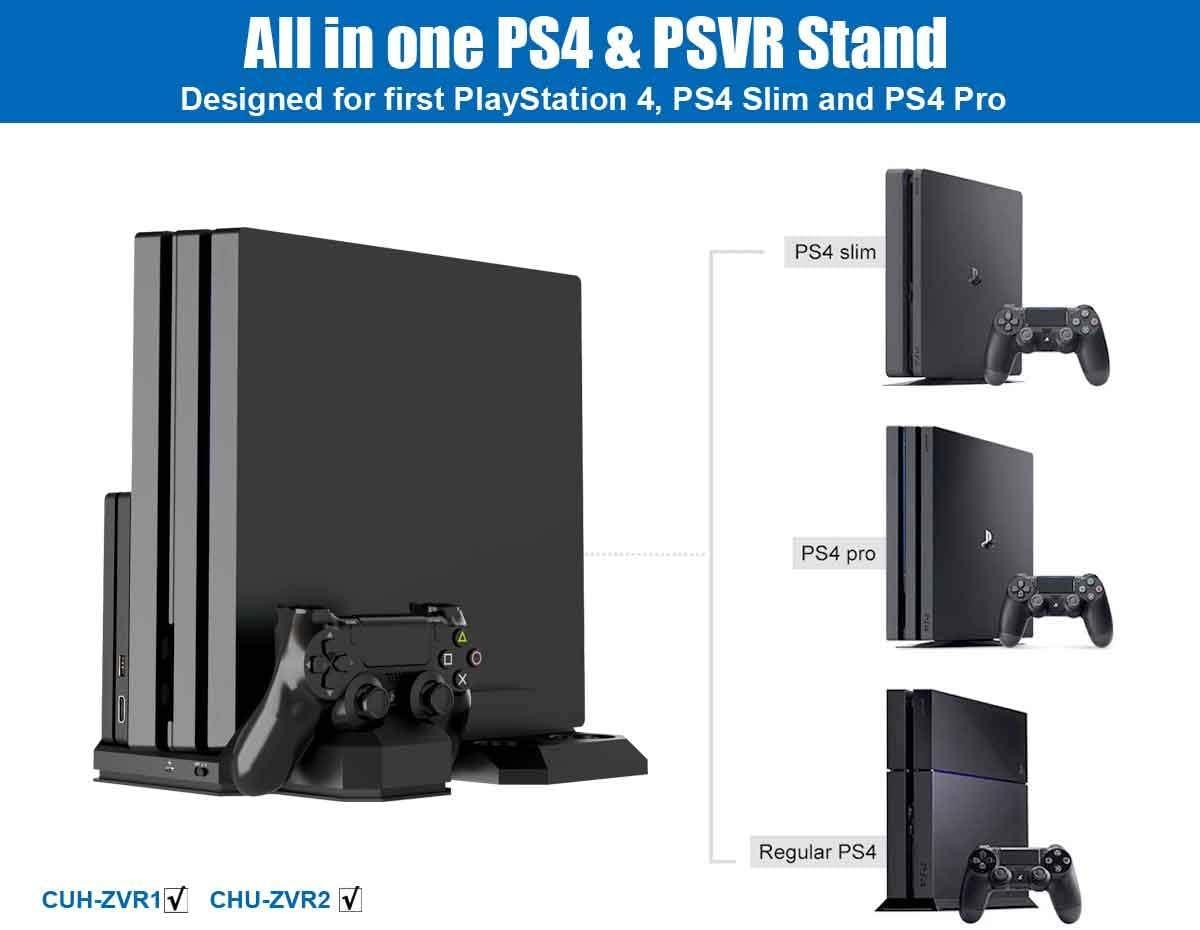 Soporte Vertical para PlayStation - ElecGear PSVR Stand, Ventilador de Refrigeración, Estación de carga cargador de controlador DualShock y Move Motion Controller Mando Charger para PS4, Slim y Pro: Amazon.es: Informática