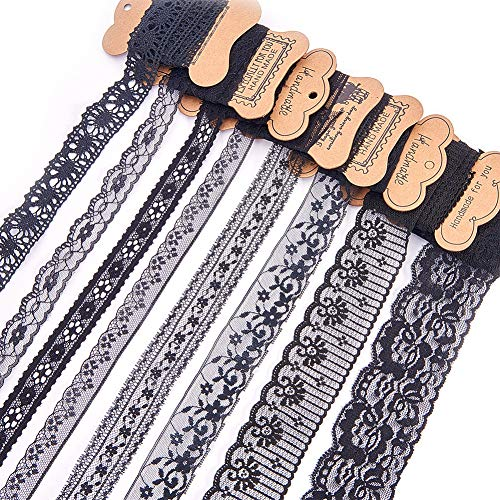 (BENECREAT 15 Rolls 37.5 Yards Black Floral Pattern Fabric Lace Ribbon by The Roll for Wedding Invitation, Cards, Decorating, Sewing, Hair Bow Making, Gift Package Wrapping, Mixed Size)