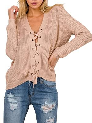 Simplee Apparel Women's Loose Long Sleeve V Neck Lace Up Knitted Sweater Nude