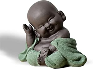 WAARTA Baby Laughing Buddha Statue | Zen Garden Buddha Statues for Home Decor | Ceramic Buddhist Monk Meditation Decor | Asian Zen Hindu Decoration Figurine Buddha Decor | Green