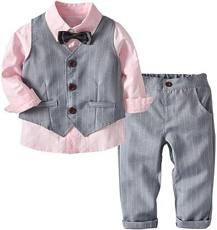 Weentop Niños Niños Conjuntos de Ropa Camisa Gris y Chaleco Pantalones Traje Trajes de Caballero para niños de 2 a 5 años Little Boy (tamaño : 130): Amazon.es: Hogar