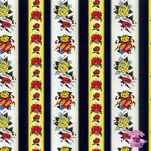 Ed Hardy Love is True Stripe Fabric by the Yard ()