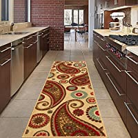 Diagona Designs Contemporary Paisley Design Non-Slip Kitchen/Bathroom/Hallway Area Rug Runner, 20 W x 59 L, Beige