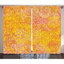 Ambesonne Modern Art Home Decor Curtains by, Vivid Postmodern Pattern with Swirls Authentic Assemblage of Boho Design, Living Room Bedroom Window Drapes 2 Panel Set, 108W X 108L Inches, Multi