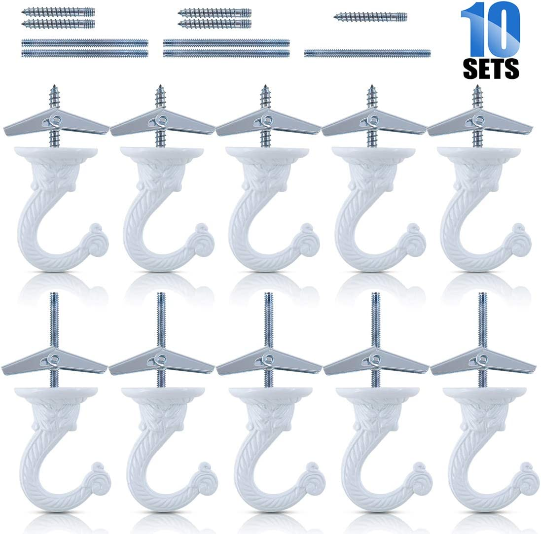 Glarks 10 Sets/40Pcs 1.5 Inch Heavy Duty Swag Hook Ceiling Hook with Steel Bolts and Toggle Wings for Hanging Plants Ceiling Installation Cavity Wall Fixing, White Enamel Finish