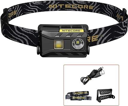 NITECORE NU25 - Linterna Frontal LED Recargable - USB Triple Salida Luz Blanco/ Rojo/CRI - Lámpara de Cabeza Muy Ligera IP66 [ Acampar Correr Pesca ...