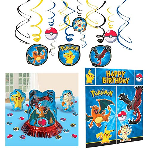 Pokemon Party Decorations Bundle - Table Decorating Kit, Scene Setter, and Hanging Swirls -