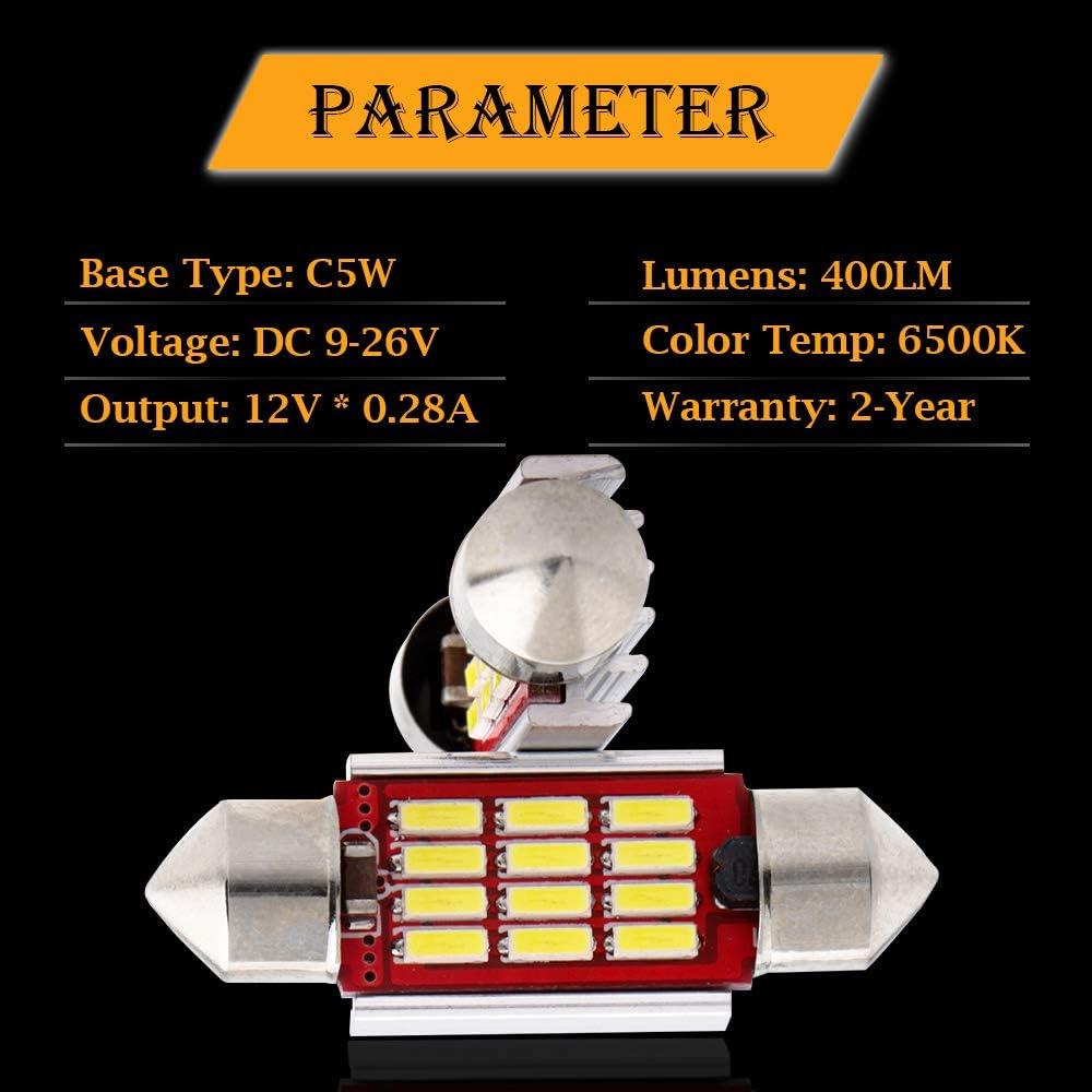 GLL 4pcs 31MM C5W LED Blanc de Canbus 6411 6418 Ampoules de D/ôme Int/érieur de Feston Avec 4014-10SMD Pour le D/ôme de Voiture Le Tronc de Plaque Dimmatriculation de Courtoisie Sallume 400LM 9-26V