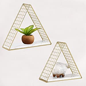 MOCOME 2 Pack Gold Triangle Floating Shelves with Real White Marble, Decorative Mid Century Metal Wire Wall Shelf Set of 2, Wall Mounted Modern Storage Organizer