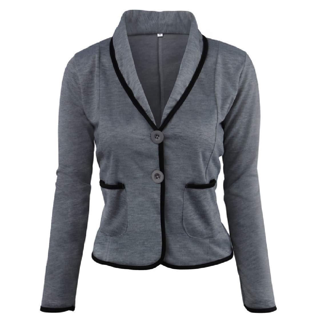 YUNY Womens 2 Button Stylish Plus-Size Slim Short Blazer Suit Coat Tops Dark Grey S