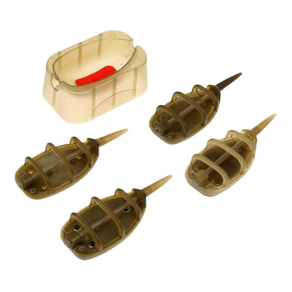 4Pcs//Set In-line Method Feeder Fishing Feeder Lead Sinker 15g 20g 25g 35g