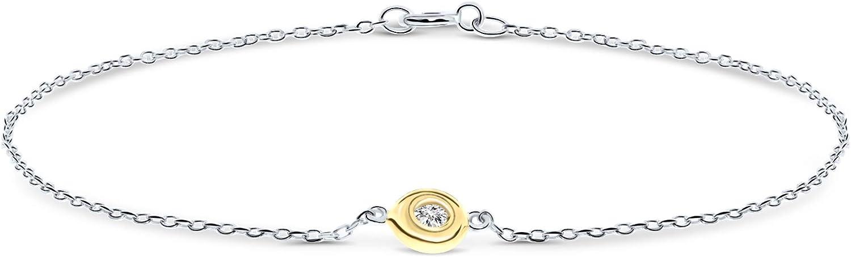 Miore - Pulsera de diamantes para mujer con cadena de ancla con diamante solitario de 0,03 ct bicolor oro amarillo y oro blanco de 9 quilates / oro 375, longitud 18,5 cm joyas