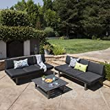 GDF Studio | Brandy | Outdoor 3 Piece Aluminum Chat Set with Cushions | in Dark Grey/Grey
