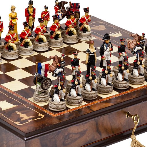 Hand Painted Napoleon & The Duke of Wellington Chessmen & Napoli Chess Board/Cabinet From Italy