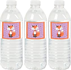67875e6531 Miss Foxy Fox - Baby Shower or Birthday Party Water Bottle Sticker Labels -  Set of