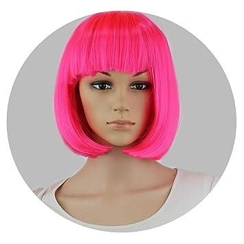 f13757e08b Amazon.com: Synthetic 10 Inch Straight Short Bob Wigs Bangs Blue ...