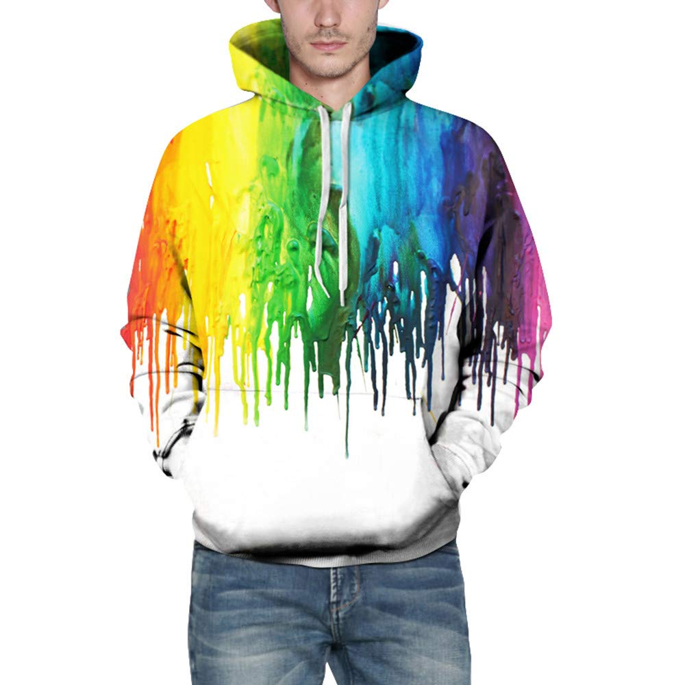 Corriee Fashion Tops for Men Women 2018 Casual Fall 3D Print Long Sleeve Multicolor Drawstring Cool Hoodies for Juniors