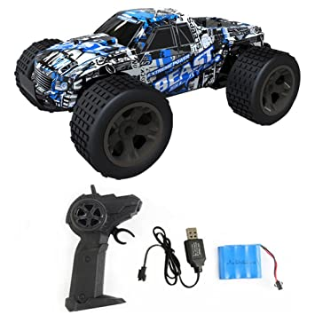VENMO USB Rechargeable Remote Control Buggy Car Toys 4WD 2 4GHz Off-Road  High Speed RC Monster Trucks Crawler For Kids Adults (Blue)