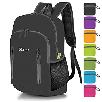 2493a2b19 Bekahizar 20L Ultra Lightweight Backpack Foldable Hiking Daypack Rucksack  Water Resistant Travel Day Bag for Men