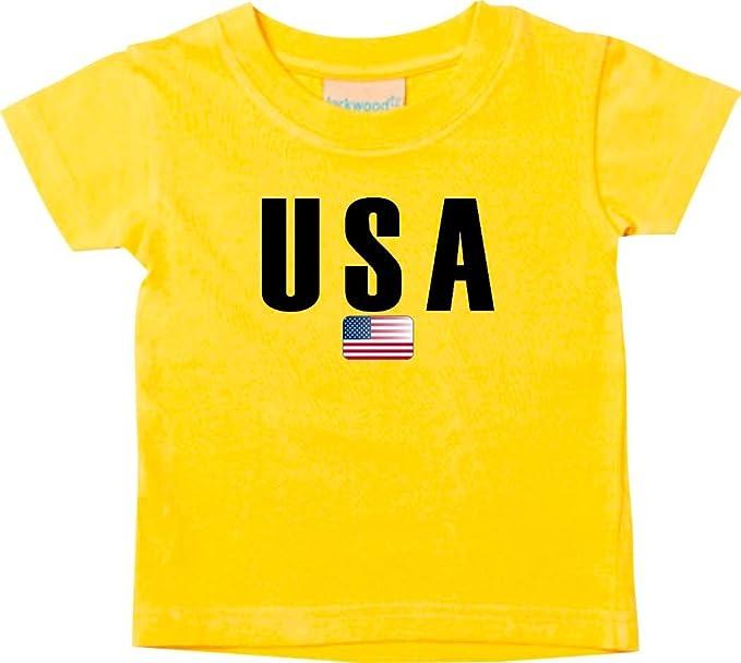 Shirtstown Bebé Niños Camiseta Fútbol Camiseta de País USA - amarillo, 0-6Monate
