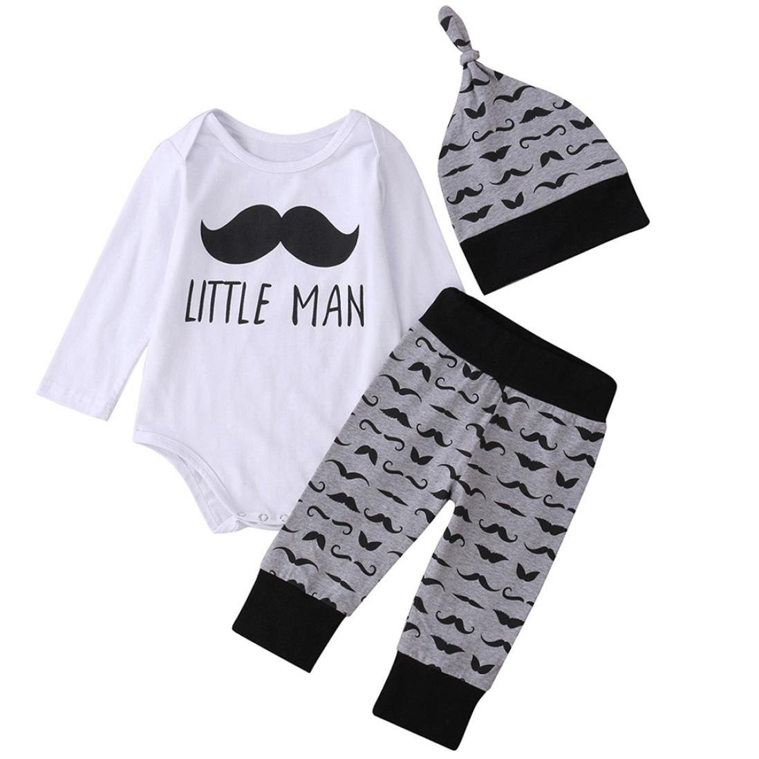 Infant Baby Boy Long Sleeve Letter Print Romper+Classic Pants+Cap Outfits Clothes Digood for 0-24 Months Baby