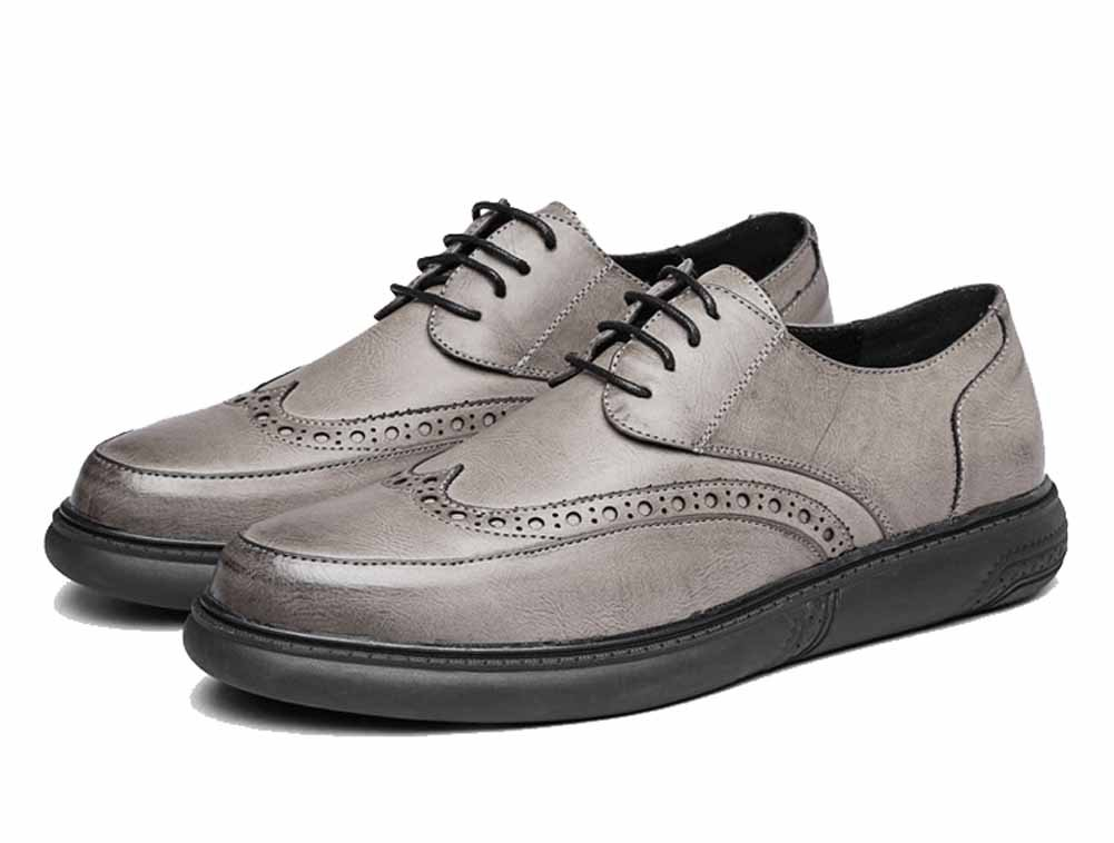 GLSHI Männer Casual Derby Schuhe New Retro Brogue Carved Leder Lace-Up Driving Schuhe