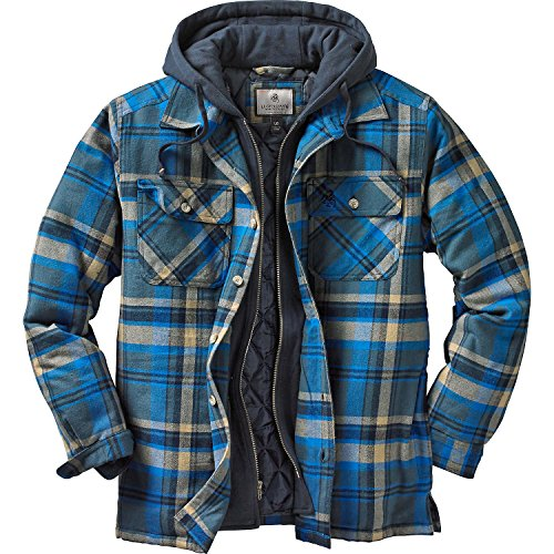 Legendary Whitetails Men's Maplewood Hooded Shirt Jacket (X-Large Tall, Slate Hatchet Blue Plaid)