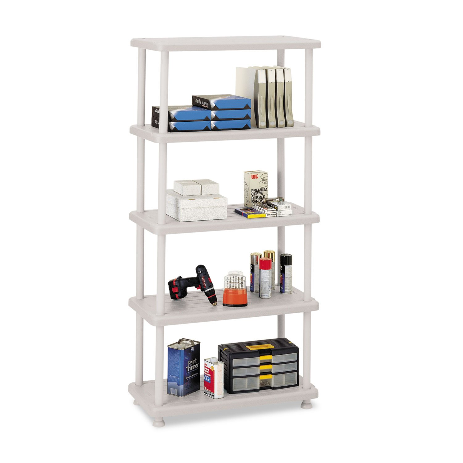 Iceberg 20853 Rough n Ready Open Storage System 5 Shelves 36 x 18 x 74 Platinum