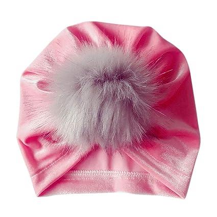 Flyhigh Hat Infant Baby Girls Winter Glitter Velvet Turban Hat Fluffy  Pompom Ball Ruched Pleated Beanie b83aeca10d11