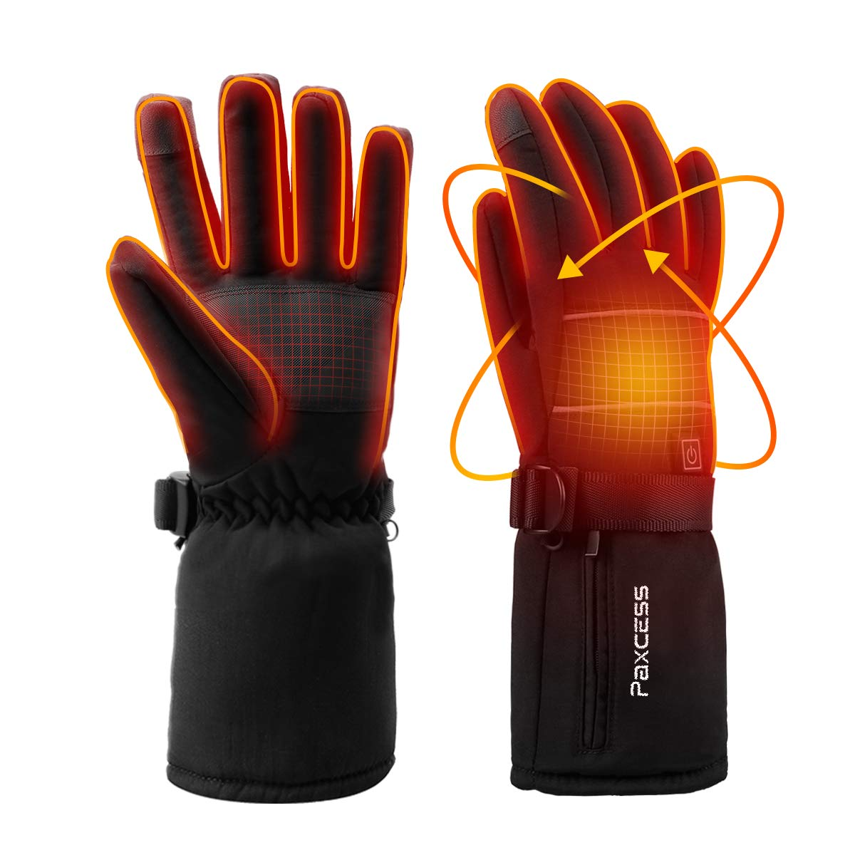PAXCESS Heated Gloves, Heated Snowboarding Gloves with 4000mAh Rechargeable Li-ion Battery for Men and Women, Battery Heated Gloves Work up to 2.5-6.8 Hrs for Cycling Motorcycle Hiking Skiing,XL by PAXCESS