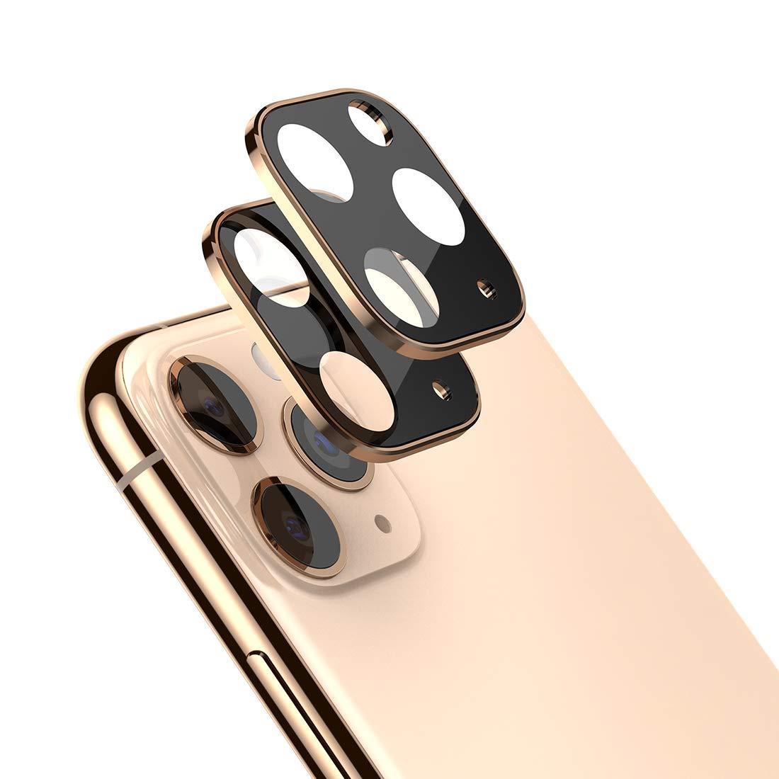 2 Vidrios Templados Para Camaras iPhone 11 Pro Max, Dorado