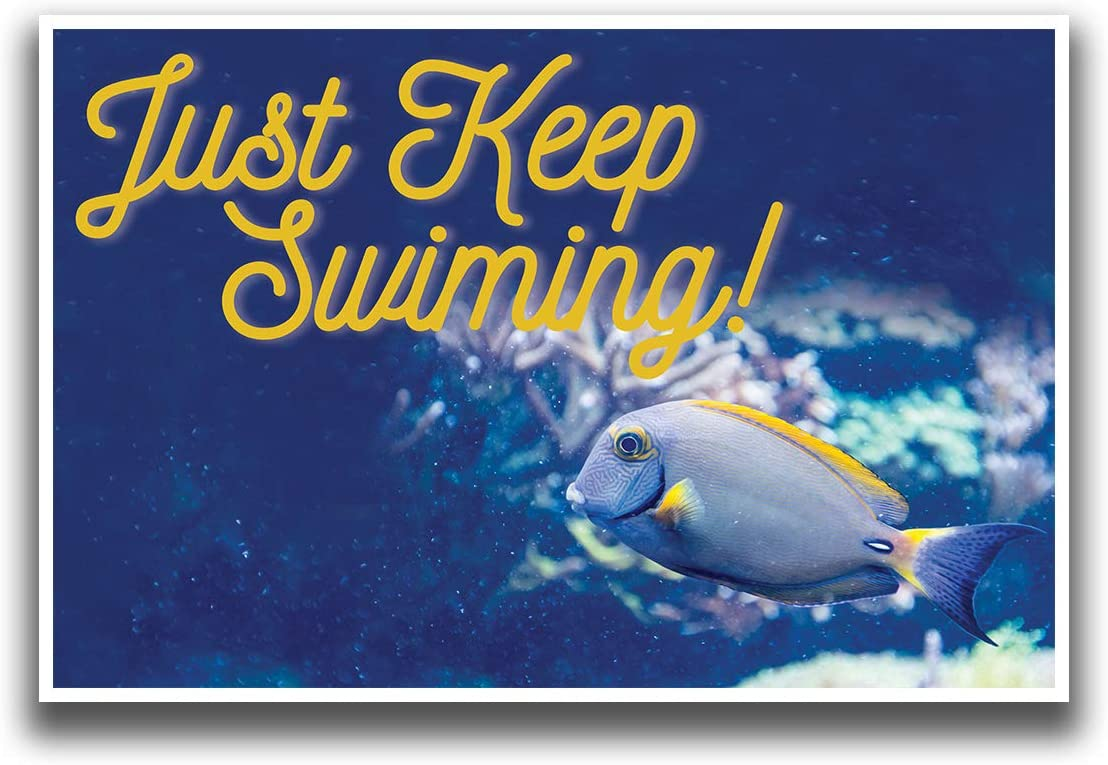 JSC389 Just Keep Swimming Classroom Poster | 18-Inches by 12-Inches | Premium 100lb Gloss Poster Paper