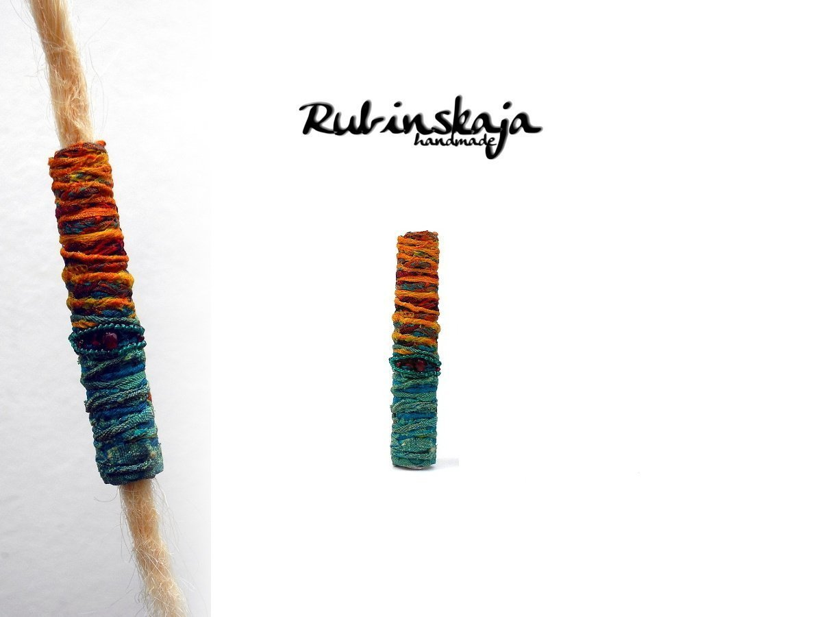 »Herbstsonne« Dreadlock Stoffperle lang Dreadschmuck 6   8   10   12 mm