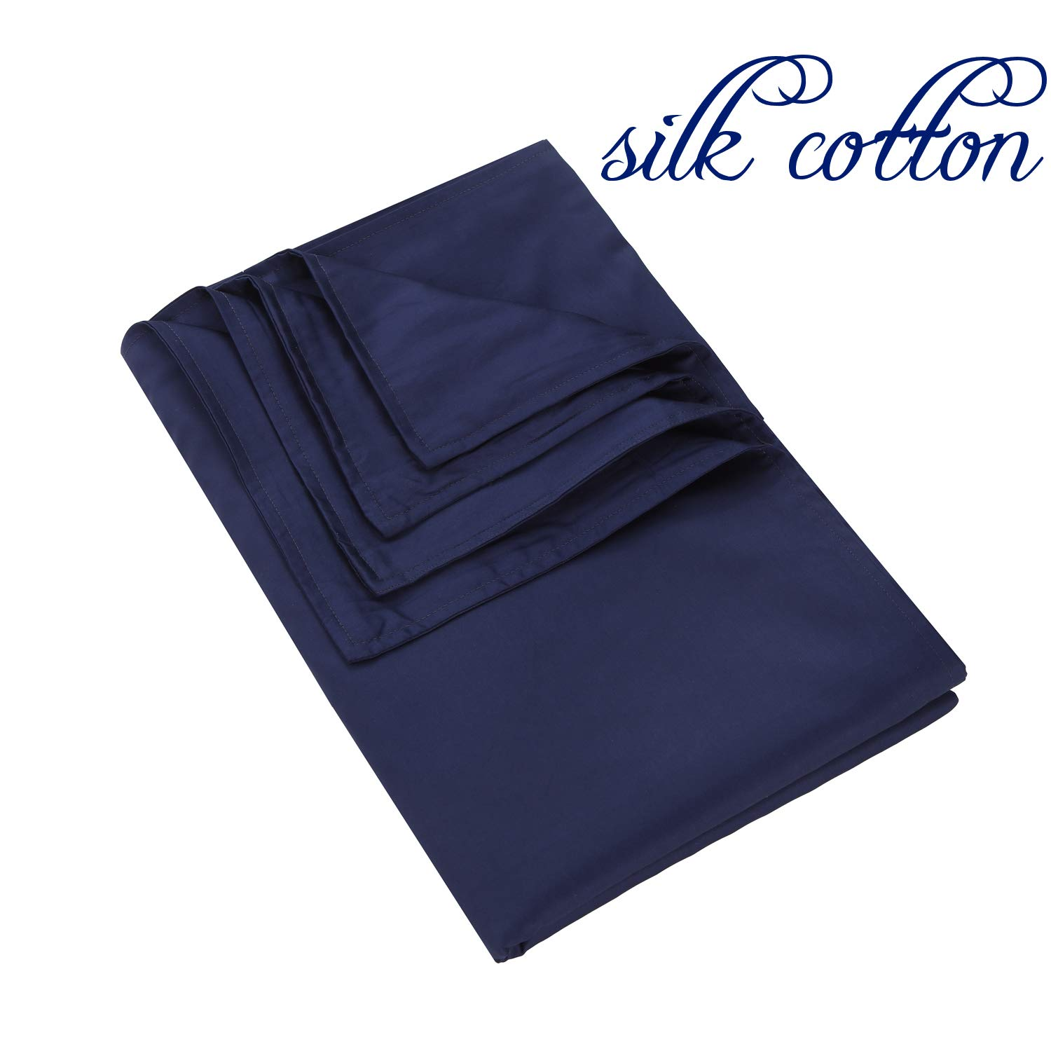 48x72 Duvet cover for weighted blanket Cover All Brand, Silk Cotton Weighted Blanket Cover with 6 Ties, Navy, Manlinar.