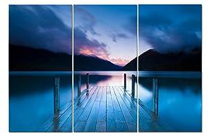 Canvas Wall Art Decor - 12x24 3 Piece Set (Total 24x36 inch) - Sunset Seascape Pier - Decorative & Modern Multi Panel Split Canvas Prints for Dining & Living Room, Kitchen, Bedroom, Bathroom & Office