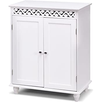 Tangkula Floor Cabinet Bathroom Wooden Storage Cabinet Living Room Modern  Home Furniture Free Standing Storage Cabinet