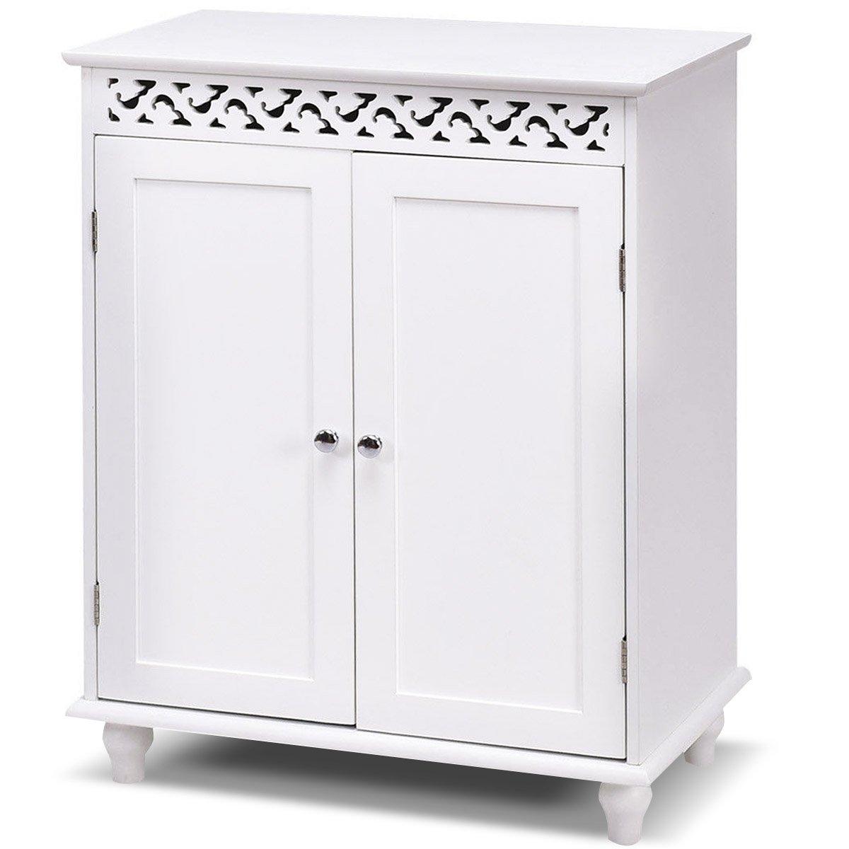 Tangkula Floor Cabinet White Wooden Free Standing Bathroom 2 Shelves Storage Cabinet