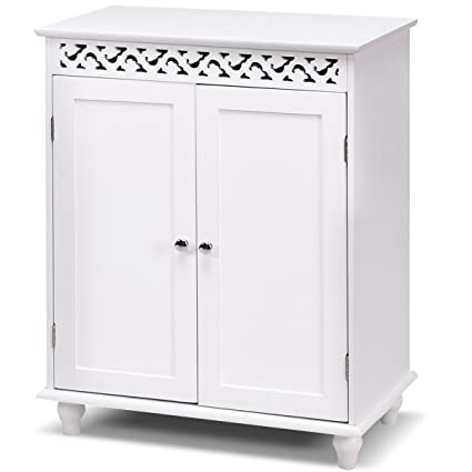 High Quality Tangkula Floor Cabinet Bathroom Wooden Storage Cabinet Living Room Modern  Home Furniture Free Standing Storage Cabinet