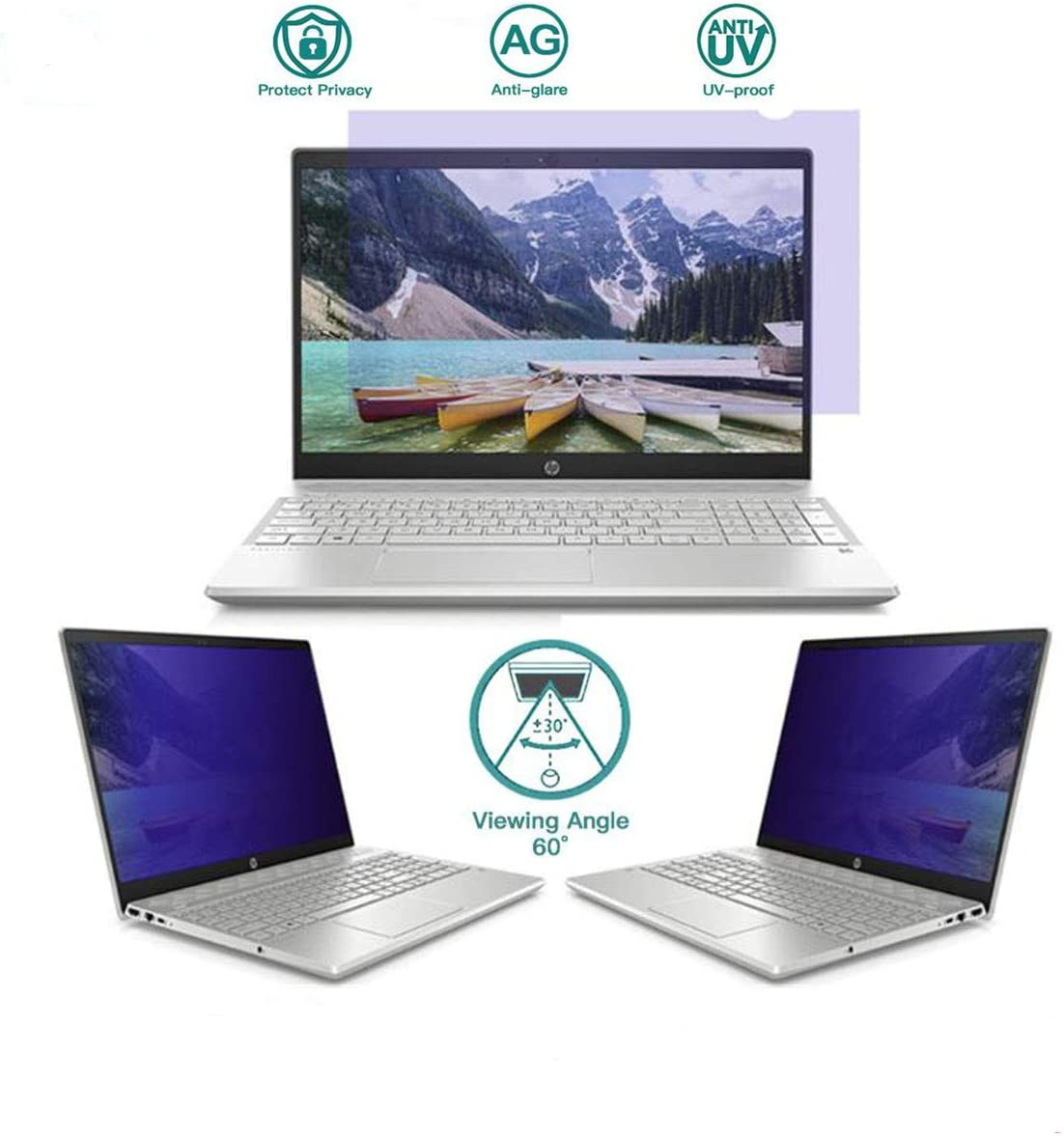 Honsdom Computer Privacy Screen Filter Laptop Anti Blue Light Screen Protector Monitor Security Film for 15.6 Inch (Aspect Ratio16:9) Lenovo,Dell,Surface Pro,HP Notebook Size (344mm194mm)